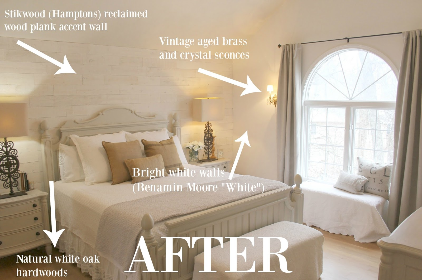 After detailed photo of master bedroom in Hello Lovely Studio's fixer upper