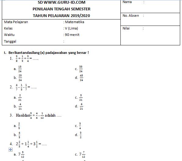 Soal Pts Matematika Kelas 5 Kurikulum 2013 Beserta Pembahasan Edisi 2019 Info Pendidikan Terbaru