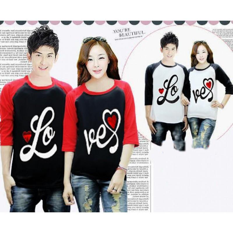 Jual Online Kimono 3/4 Love Foil Couple Murah Jakarta Bahan Combed Terbaru.