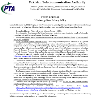 Telecommunication Authority (PTA) issues statement on WhatsApp privacy policy