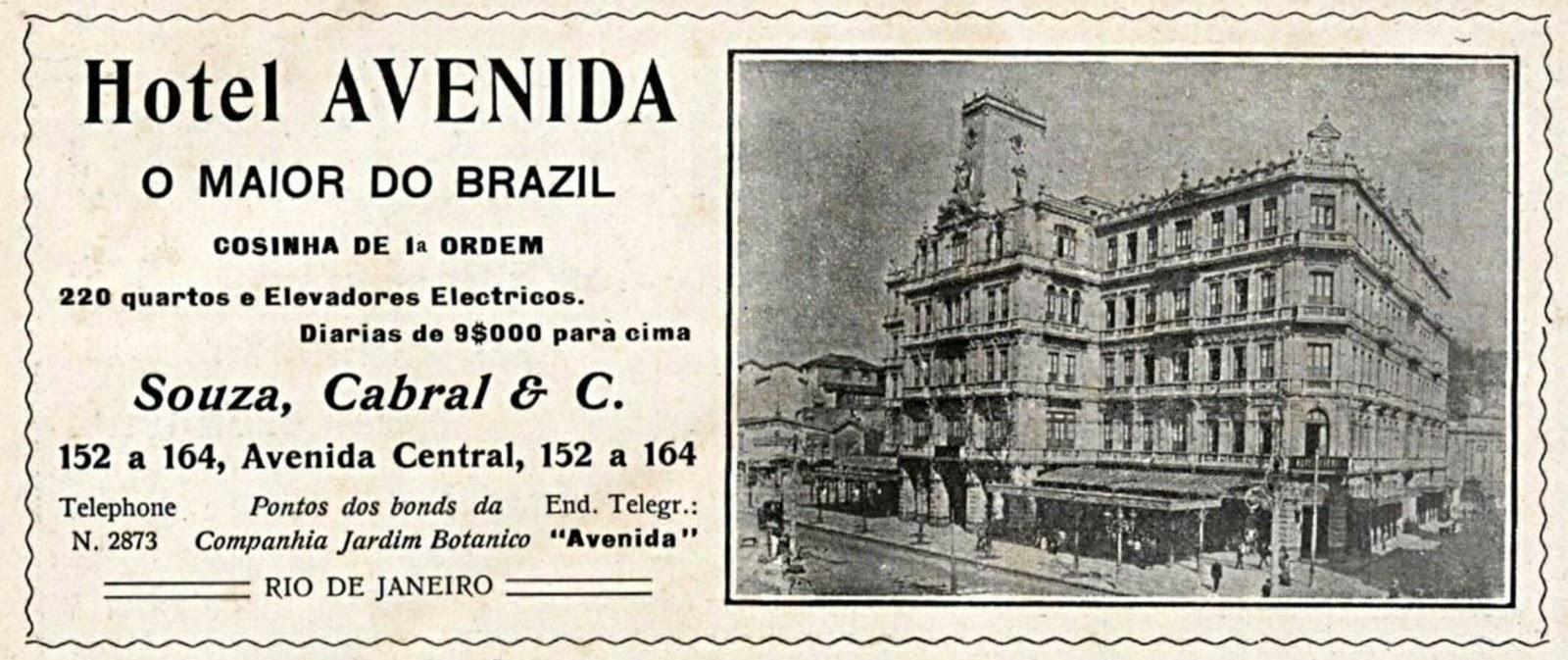 Propaganda antiga do Hotel Avenida no Rio de Janeiro veiculada em 1909