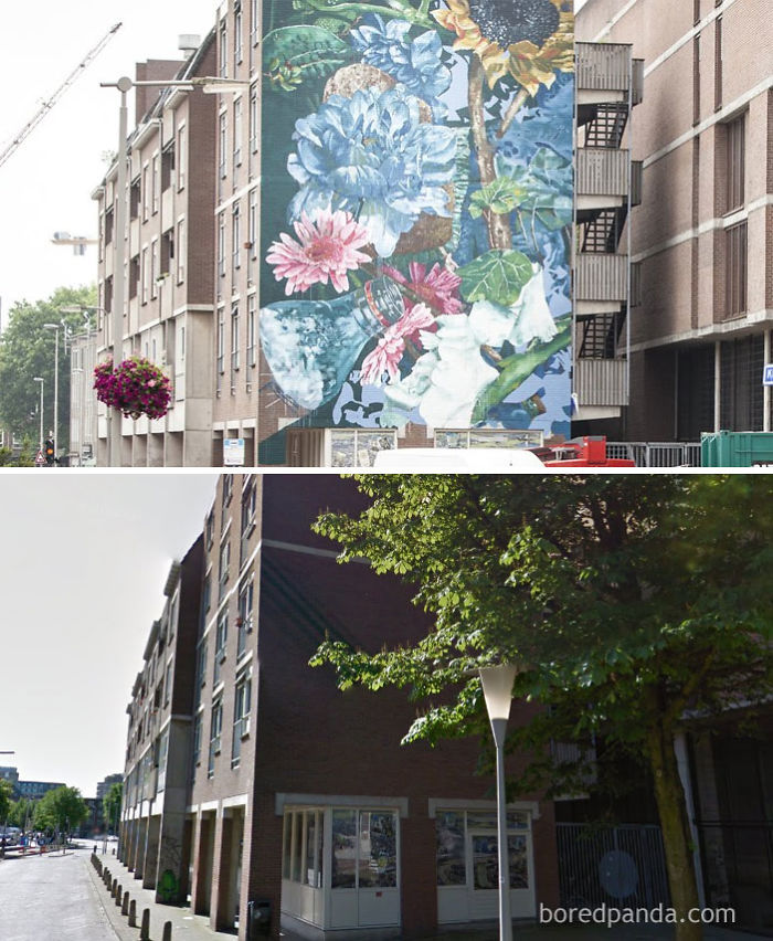 10+ Incredible Before & After Street Art Transformations That'll Make You Say Wow - Feast Before Flood Mural, Arnhem, The Netherlands