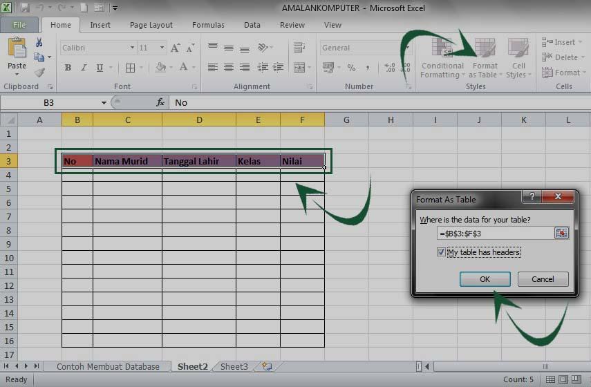 cara membuat database di excel mudah