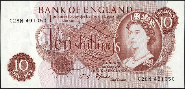 Great Britain 10 Shilling Note 1966 Queen Elizabeth II