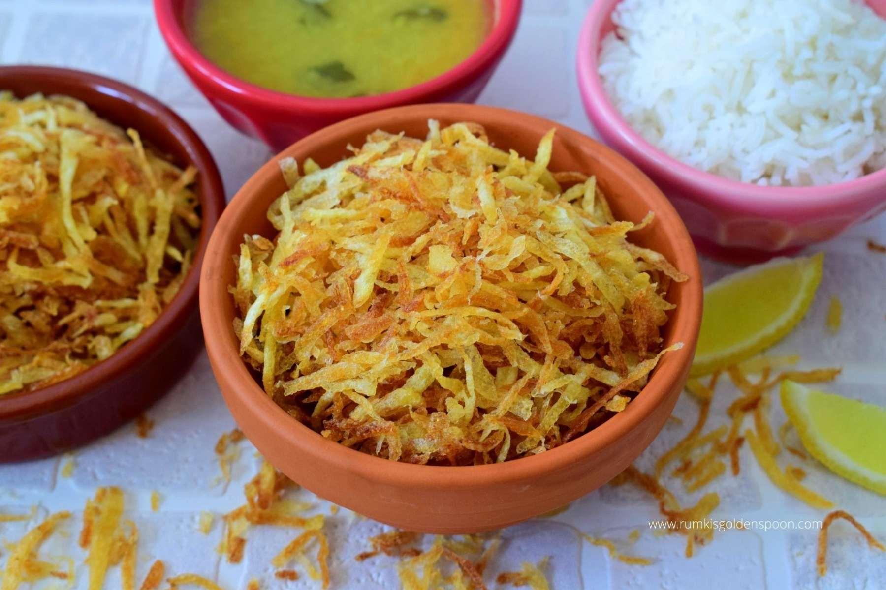 Jhuri Aloo Bhaja   Crispy potato fry   How to make jhuri aloo bhaja - Rumki's Golden Spoon