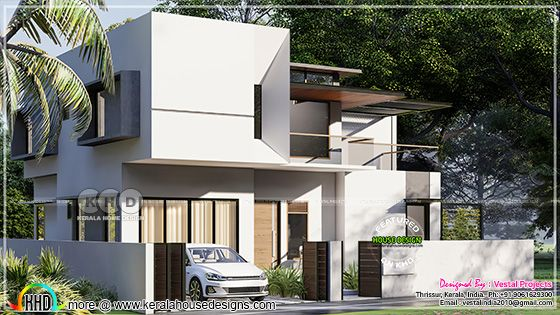 Modern Kerala house left side view 3d rendering