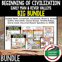 Early Man, River Valley Civilizations, Ancient World History Mega Bundle, Ancient World History Curriculum, World History Digital Interactive Notebooks, World History Choice Boards, World History Test Prep, World History Guided Notes, World History Word Wall Pennants, World History Game Cards, World History Timelines