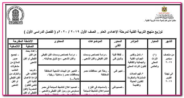 توزيع منهج التربية الفنية للمرحلة الاعدادية للترم الاول والثانى للعام الدراسى 2019/2020