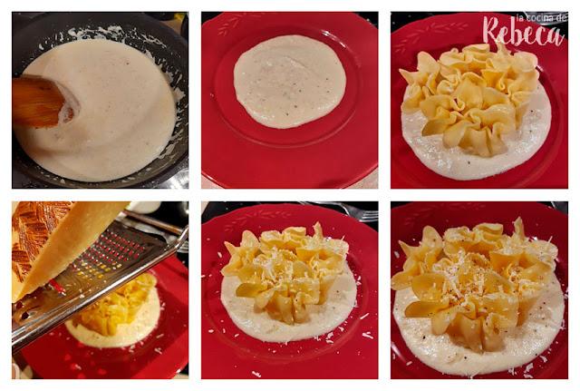 Receta de pasta fresca rellena con salsa de queso