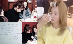 Sao Hàn 18/1: Dara trang điểm tự nhiên như không, T-ara viết tiếng Việt tặng fan