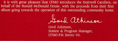Gord Atkinson note on the Stairwell Caroller 1985 album