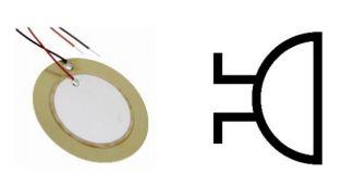 Simbol dan bentuk fisik Piezoelektrik