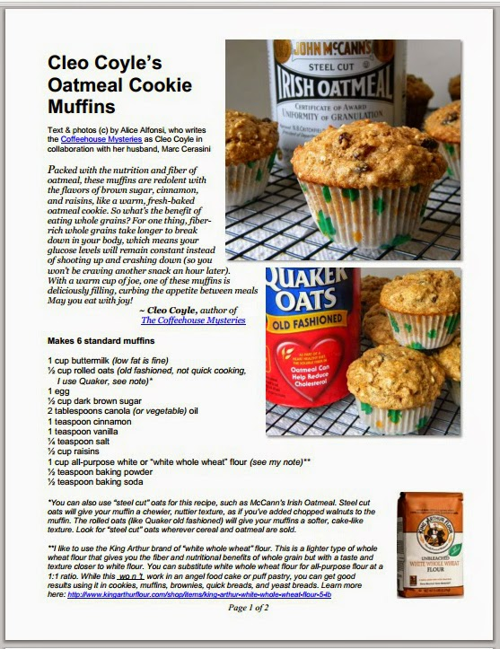 Cleo Coyle Recipes.com: Oatmeal Cookie Muffins from author Cleo Coyle