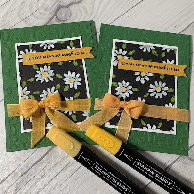 Floral greeting cards with ribbons colored with Stampin' Blends