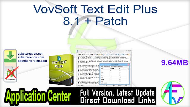 VovSoft Text Edit Plus 8.1 + Patch