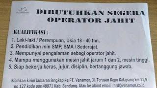 Lowongan Kerja PT Venamon Katapang Bandung Terbaru 2020