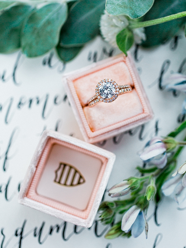 Rose gold round pave halo ring with a pink Mrs. Box | Photo by Dennis Roy Coronel | See more on thesocalbride.com