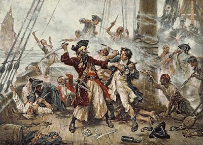 Capture of the Pirate, Barbanera, 1718 raffigurante la battaglia tra Barbanera il pirata e il tenente Maynard a Ocracoke Bay (Jean Leon Gerome Ferris).