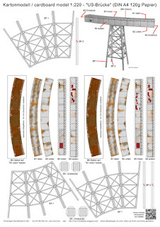 free papermodel of a US railway bridge (bent) - DIN A4 120 g