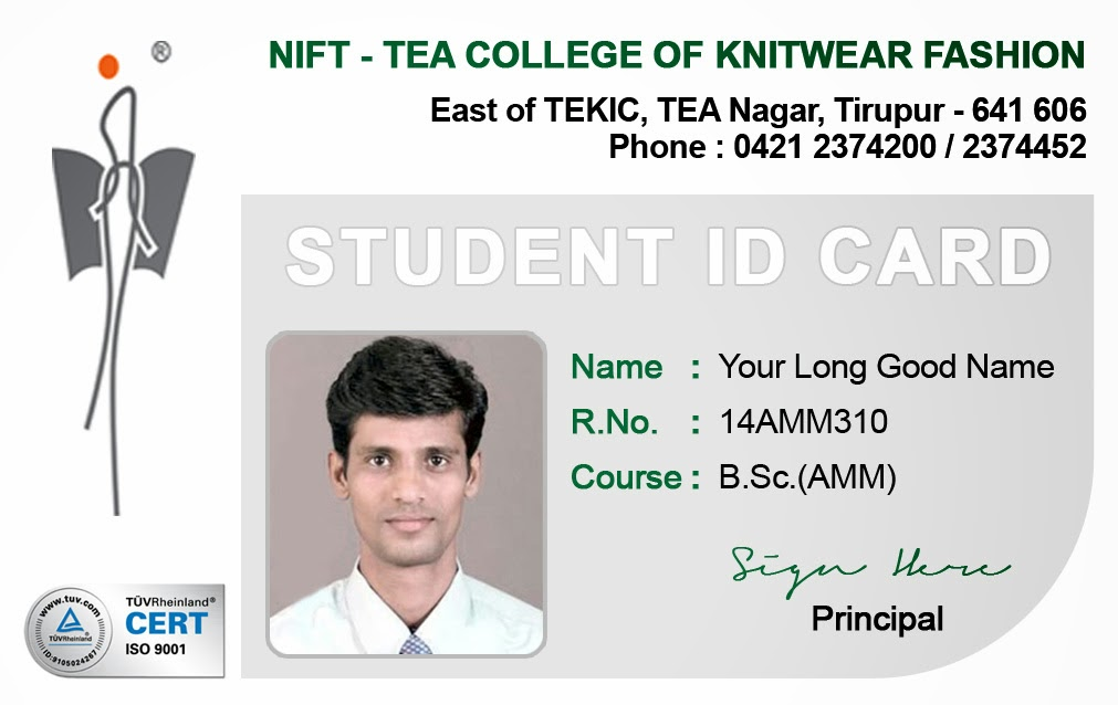 student identification card template hgvi