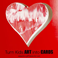 valentines day craft ideas for kids:  reuse kids art in cards