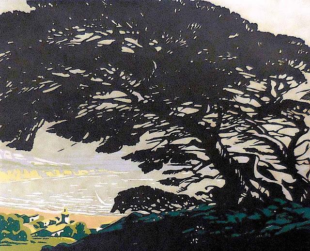 Sam Hyde Harris art, a tree in silhouette
