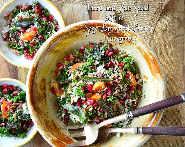 farro, kale, pomegranates, squash, bowl