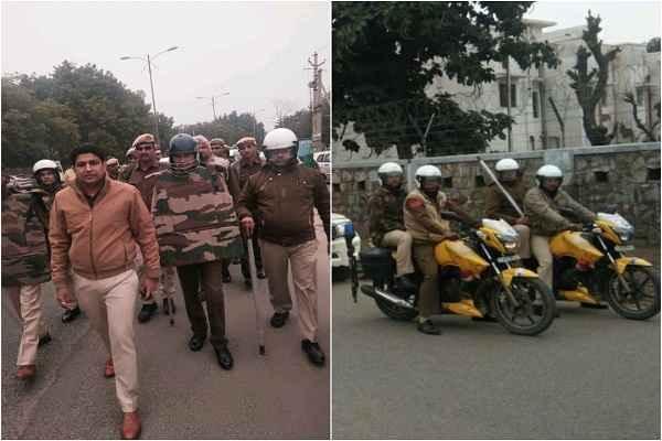 faridabad-police-flag-march-sgm-nagar-faridabad-hindi-news