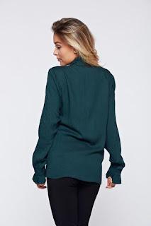 Camasa dama PrettyGirl verde-inchis eleganta cu volanase la maneca2
