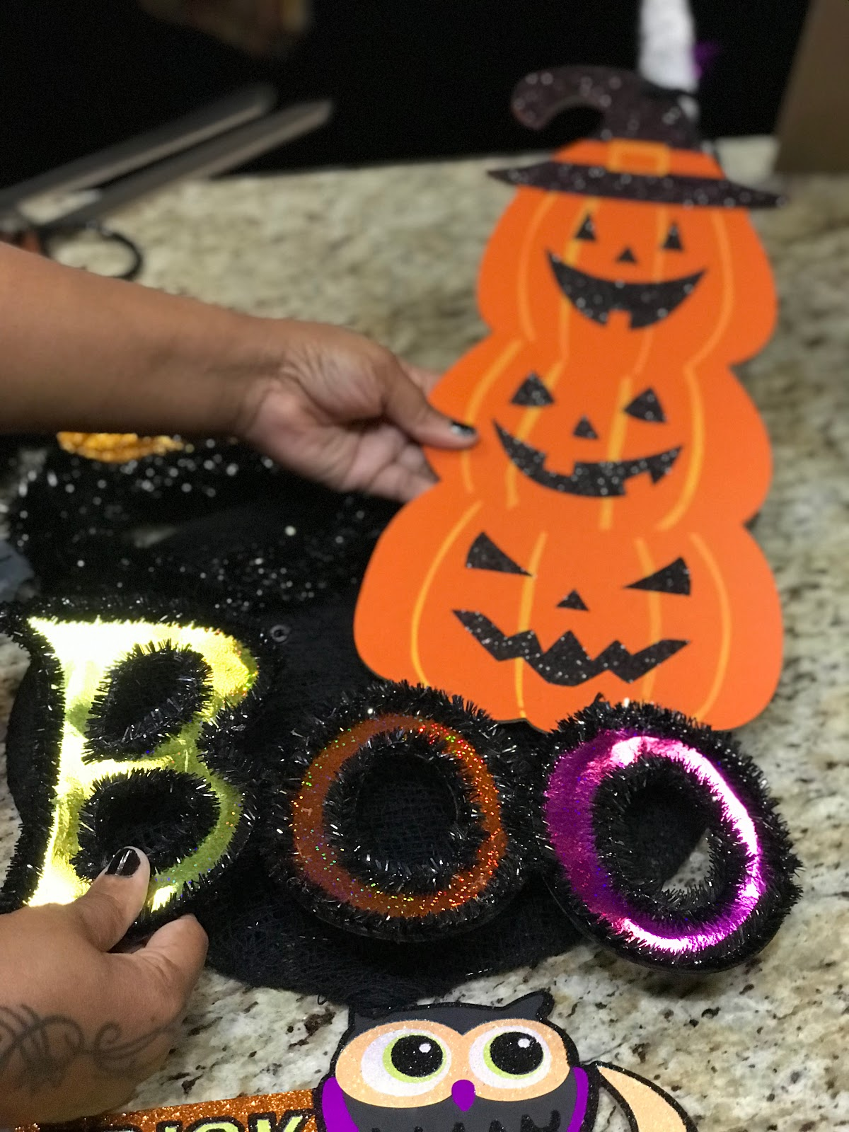 Image: Tangie Bell decorating Halloween wreath in 2019. Seen first on Bits and Babbles