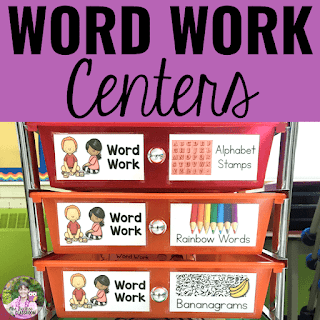Cover of word work centers resource with photo of centers in colorful drawers.
