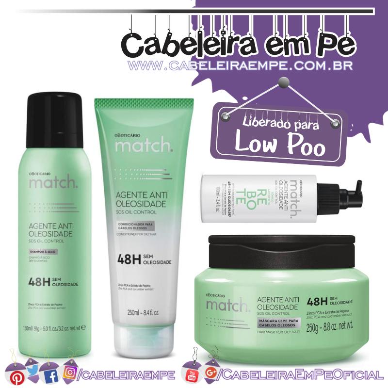 Condicionador, Máscara, Tônico e Shampoo a Seco Match Agente Antioleosidade - O Boticário (Low Poo)