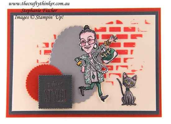 Pattern Party, You've Got Style, Embossing Paste, #thecraftythinker, Stephanie Fischer, Stampin' Up Australia Demonstrator, Sydney, NSW, Stamped cat image