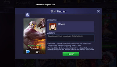 Cara Gift Skin Hero di Mobile Legend
