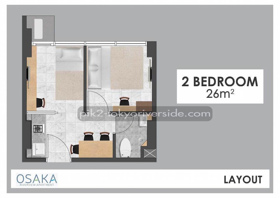 Tipe 2BR Apartemen Osaka Riverview PIK 2
