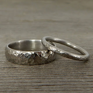 hammered palladium wedding bands