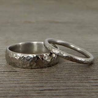 hammered palladium wedding bands