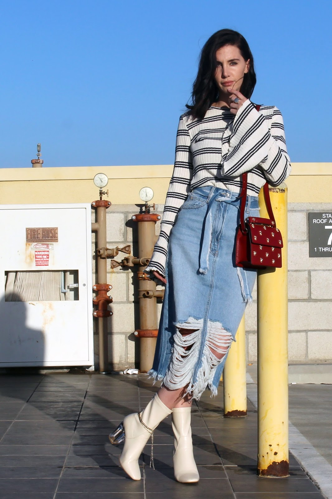 denim midi skirt, flared sleeve top, ankle boots, street style