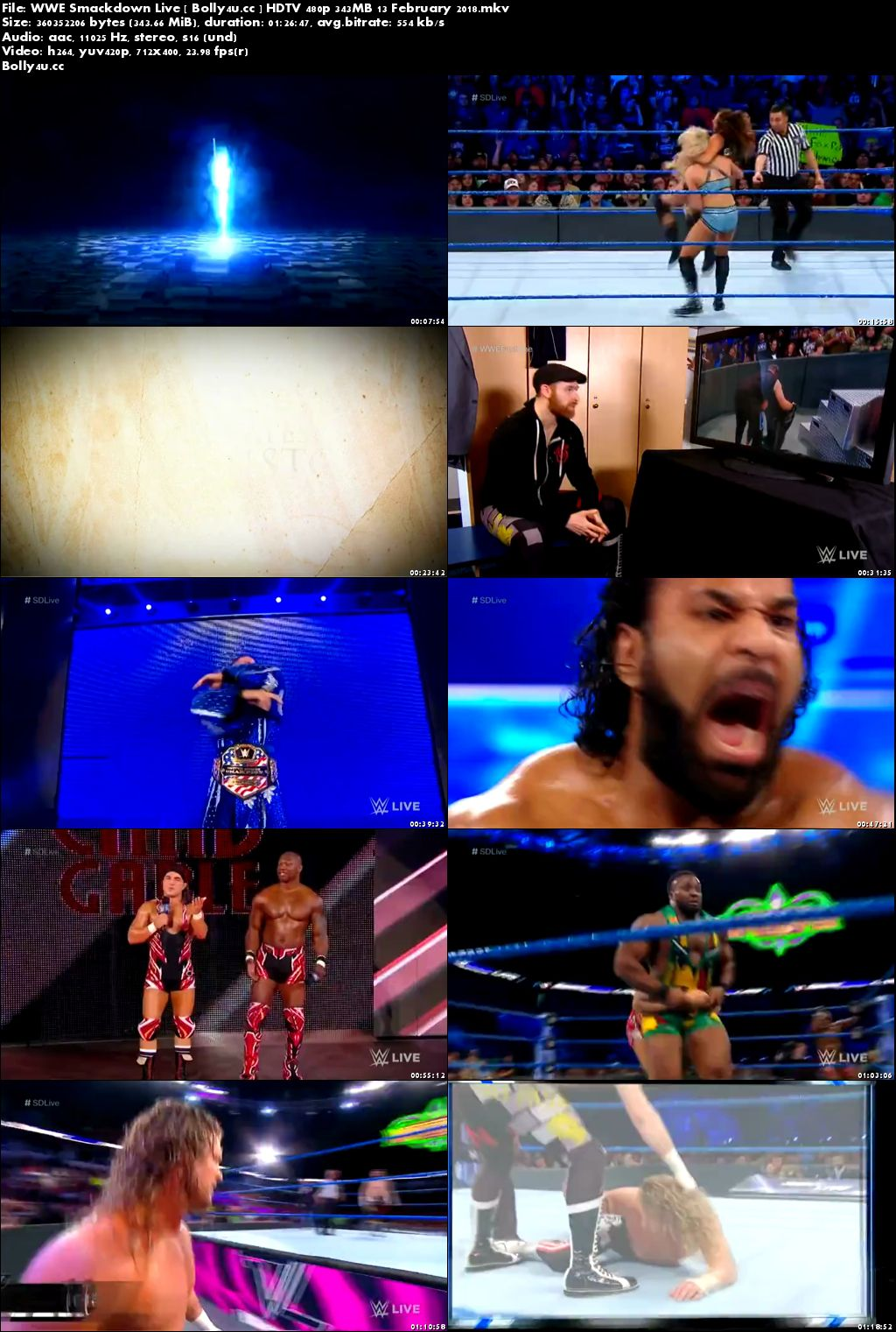 WWE Smackdown Live HDTV 480p 350MB 13 February 2018 Download