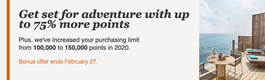 IHG Rewards Club – Up to a 75% bonus when you buy points until February 27 (think new PointBreaks list coming soon)