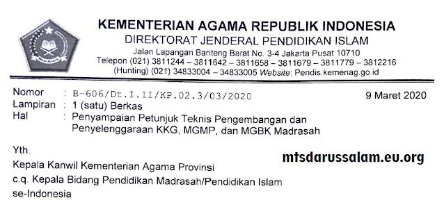 Juknis KKG, MGMP Dan MGBK Madrasah Tahun 2020