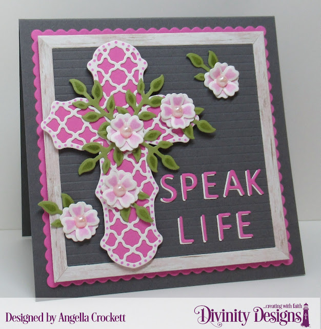 Divinity Designs Letterboard Dies, Weathered Wood Paper Collection, Ornamental Crosses Dies, Bitty Blossoms Dies, Scalloped Squares Dies, Card Designer Angie Crockett