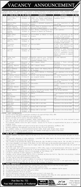 Post Box No 722 Post Mall University of Peshawar Jobs in Pakistan 17/02/2021 Latest