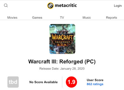 Warcraft 3: Reforged 1.9 metacritic