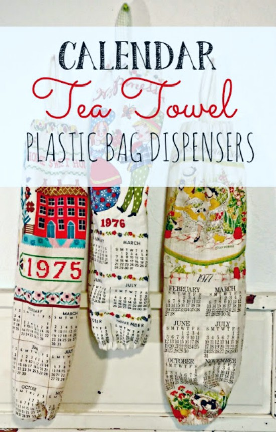 make plastic bag dispensers from old tea towels