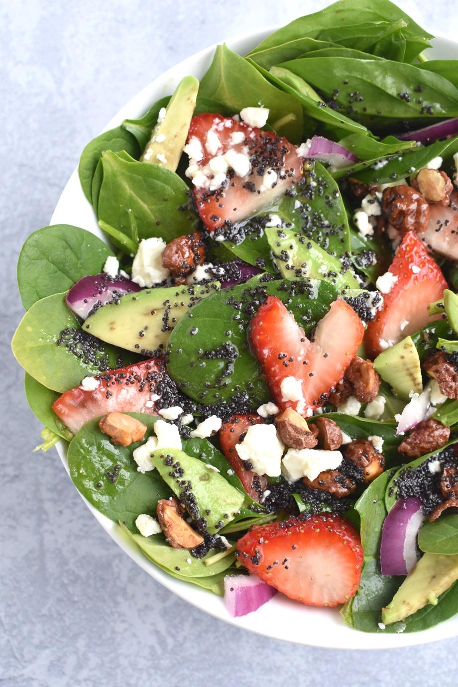 Strawberry Avocado Feta Spinach Salad