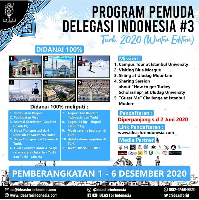 Fully Funded [100% DIDANAI] Program Pemuda Delegasi Indonesia #3 Turki 2020 (Winter Edition) 1 - 6 Desember 2020
