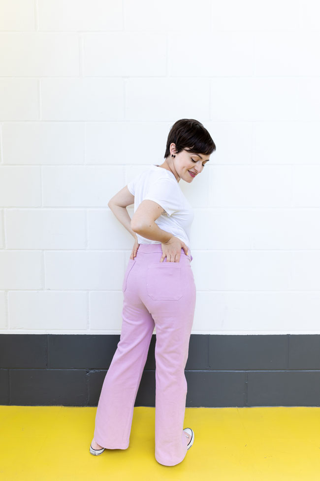 Tilly's pink Jessa jeans of dreams - sewing pattern by Tilly and the Buttons