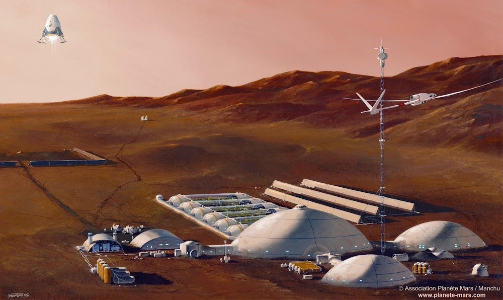 Large human base on Mars by Manchu (Philippe Bouchet)