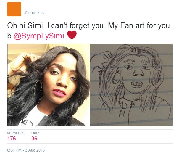 """Fan presents Simi an """"adorable"""" drawing of her but the singer's reaction is hilarious"""
